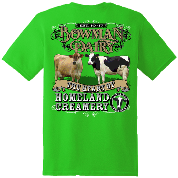 Bowman Dairy Screen Printed Tee Shirt Sample